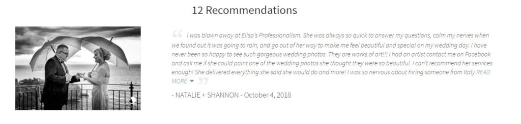 Testimonial e Review fearless photographer